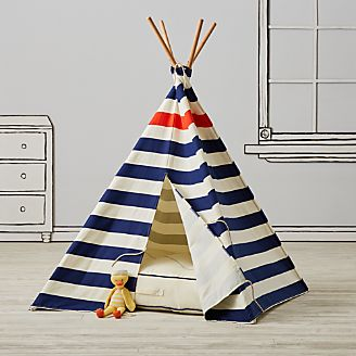 Nautical Blue Stripe Teepee & Playhouses Teepees u0026 Tents | Crate and Barrel