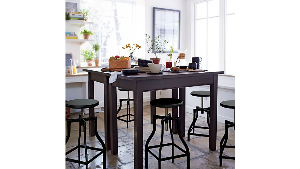 Turner Black Adjustable Backless Bar Stools and Linen Cushion