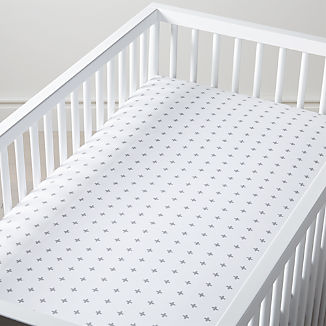 Organic Grey Plus Sign Crib Fitted Sheet