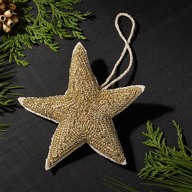 Plush Gold Star Ornament