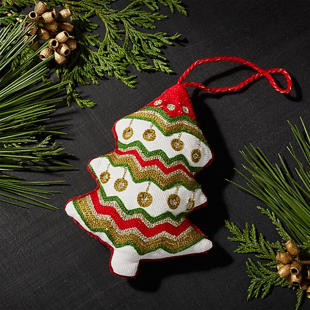 Plush Red and Green Tree Ornament