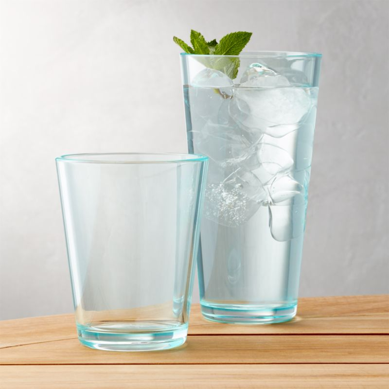 Pop Aqua Acrylic Drink Glasses Crate And Barrel