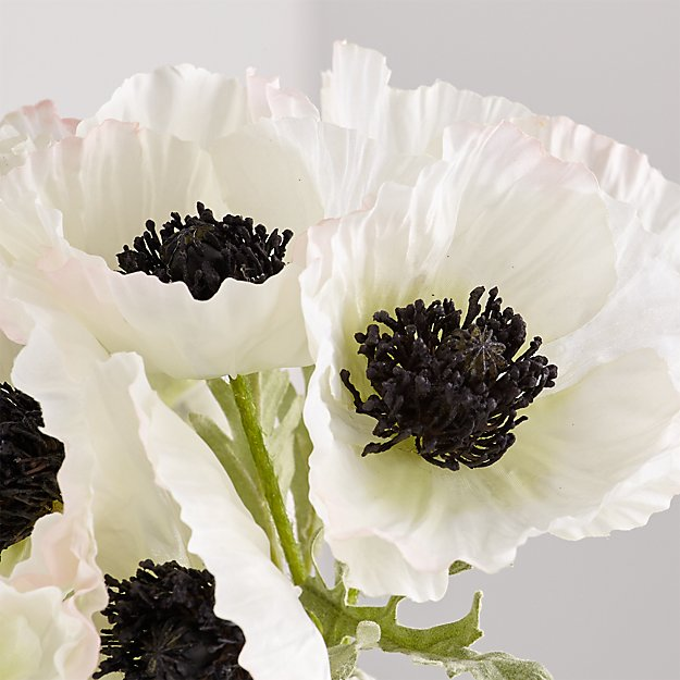 Artificial White Poppy Bunch - Image 1 of 4