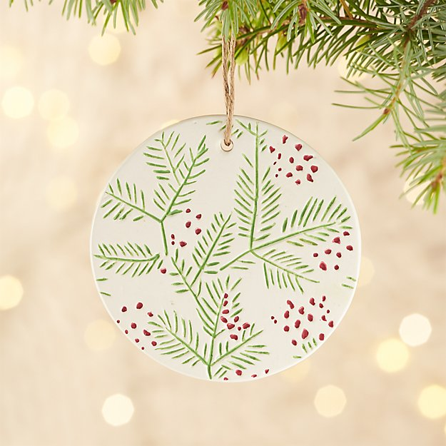Red/Green Pine Stamp Porcelain Ornament