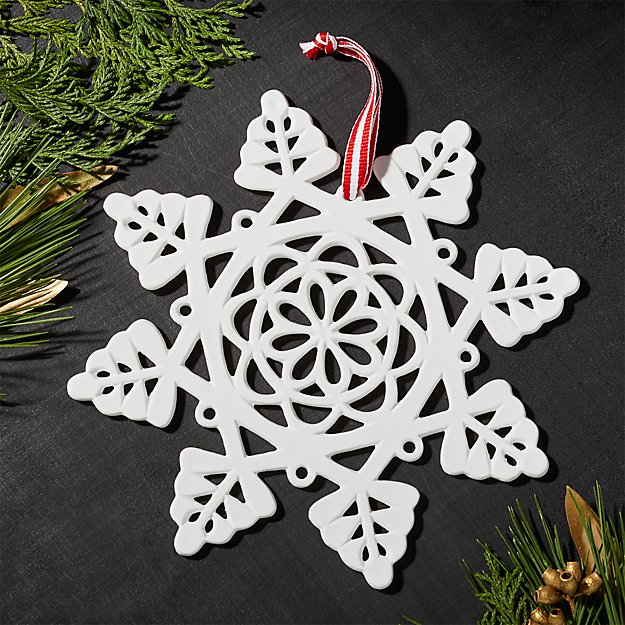 Traditional Snowflake Porcelain Ornament