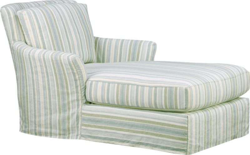 """Modern meets grace in this versatile new classic for living or family room. Slipcover fabric for Portico Chaise is a basketweave pattern quilted on an easy-care cotton-polyester blend. Fabric is tumble-washed repeatedly to achieve a soft, lived-in feel.<br /><br />Additional <a href=""""http://crateandbarrel.custhelp.com/cgi-bin/crateandbarrel.cfg/php/enduser/crate_answer.php?popup=-1&p_faqid=125&p_sid=DMUxFvPi"""">slipcovers</a> available through stores featuring our Furniture Collection.<br /><br />After you place your order, we will send a fabric swatch via next day air for your final approval. We will contact you to verify both your receipt and approval of the fabric swatch before finalizing your order.<br /><br /><NEWTAG/><ul><li>Prewashed cotton-polyester blend slipcover with topstitch detail</li><li>Benchmade</li></ul>"""