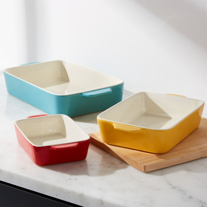 Aqua Potluck Baking Dish, Set Of 3 by Crate&Barrel