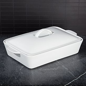 Potluck White Covered Baking Dish