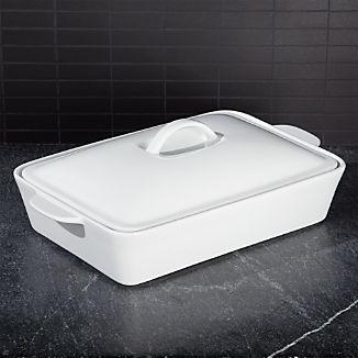 Potluck White Covered Baking Dish