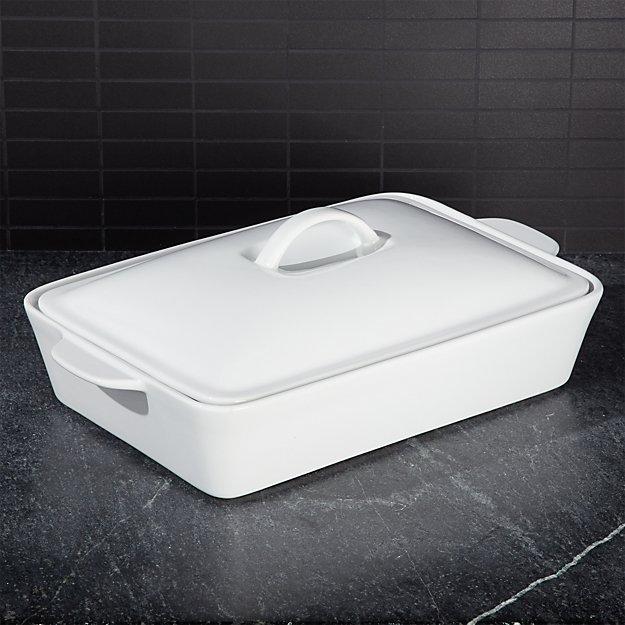 Potluck White Covered Baking Dish - Image 1 of 4
