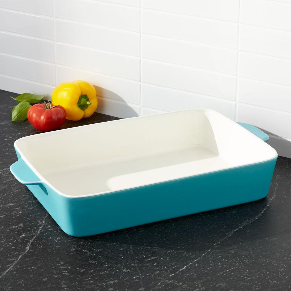 Potluck Blue Lasagna Baking Dish - Crate and Barrel