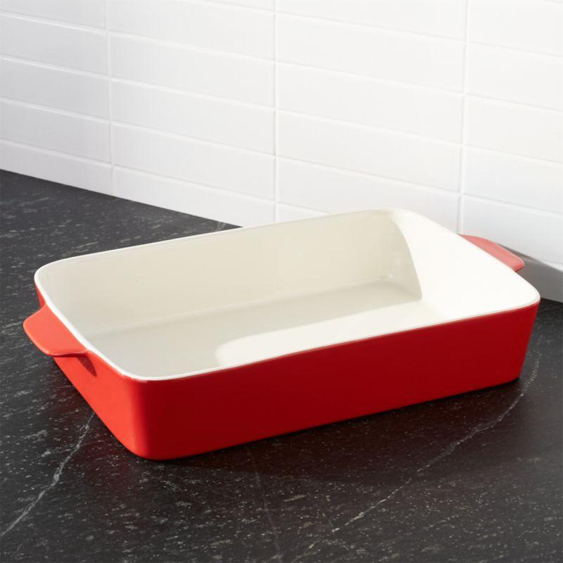 Potluck Lasagna Red Baking Dish Reviews Crate And Barrel