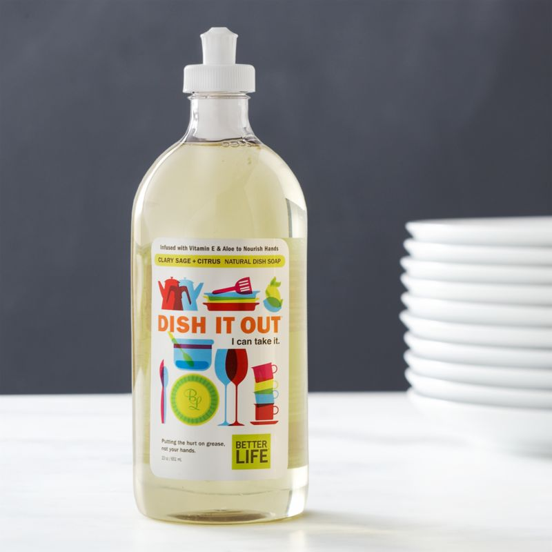 Aspire to a healthier clean for your home. This eco-friendly, all-purpose dish soap is better for people, pets and the planet. Carefully formulated in the USA with a castile base and natural ingredients, this pure, plant-based soap is tough on grease and grime, easy on sensitive skin. Aloe and vitamin E nourish hands while you clean. The refreshing citrus scent is a natural blend of essential clary sage and citrus oils. Hypoallergenic and biodegradable soap easily cleans dishes, pots and pans and rinses clean without leaving a residue.<br /><br />As parents of young children, lifelong friends Tim Barklage and Kevin Tibbs became concerned about toxic residues left behind by traditional cleaners. Tim challenged Kevin, an innovative chemist, to create a cleaning product that would set the standard for safety. In 2007, they founded Better Life™, a better line of products and a better life for all.<br /><br /><NEWTAG/><ul><li>Created by Better Life™</li><li>Eco-friendly, all-purpose dish soap that's safe for kids and pets</li><li>Formulated with natural and plant-based ingredients including purified water,</li><li>Made in USA</li></ul>pure castile soap, vegetable glycerin, aloe leaf extract and vitamin E<br /><li>Non-toxic, solvent-free</li><li>Contains no sulfates, parabens, petroleum products, synthetic fragrance or dye</li><li>Gluten-free, hypoallergenic and 100% biodegradable</li><li>Not tested on animals</li><li>Safe for waterways and marine life</li><li>Made in USA</li></ul>
