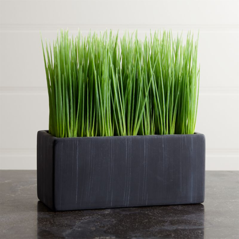 Row up these pots of faux grass for a modern twist on Easter décor or as an all-year interior accent. Cement adds a rustic touch to sleek rectangular shape.<br /><br /><NEWTAG/><ul><li>Cement pot</li><li>Plastic grass</li><li>Made in China</li></ul>