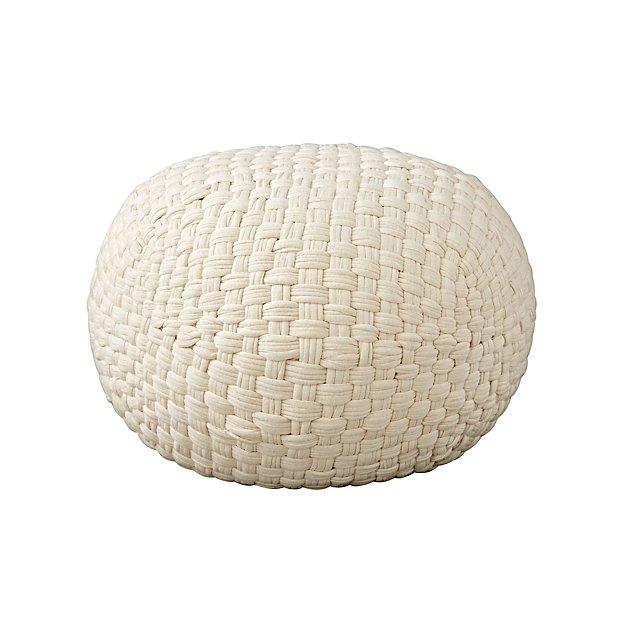 Woven Jersey White Pouf