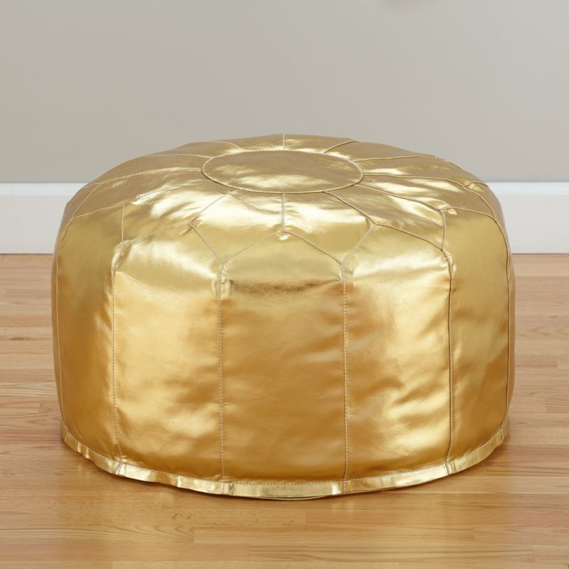 Faux leather gold pouf reviews crate and barrel for Crate and barrel pouf