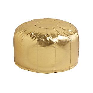 Faux Leather Gold Pouf