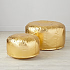 View product image Faux Leather Gold Pouf - image 2 of 11