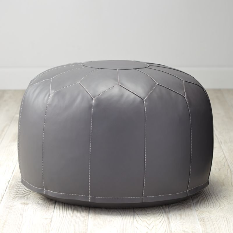 Faux leather grey pouf reviews crate and barrel for Crate and barrel pouf