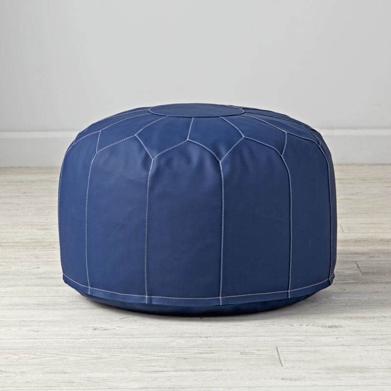 Faux leather navy pouf in clearance kids furniture for Crate and barrel pouf