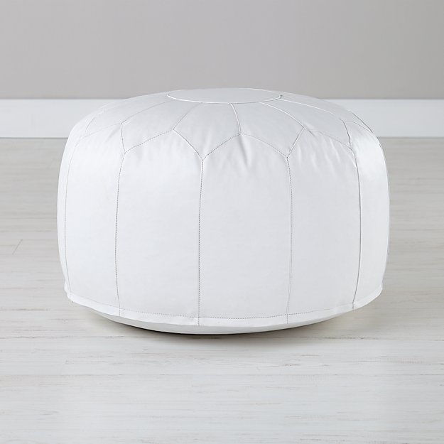 faux leather white pouf reviews crate and barrel. Black Bedroom Furniture Sets. Home Design Ideas