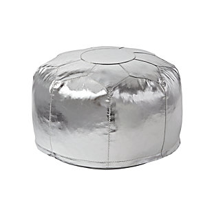 Mini Faux Leather Silver Pouf