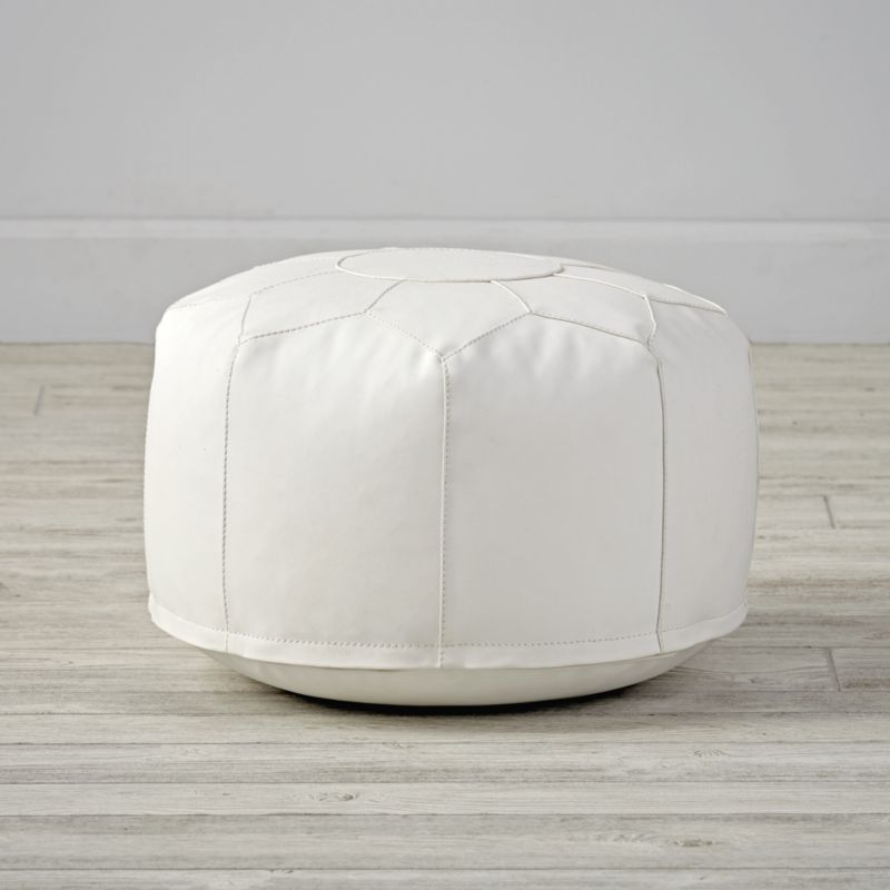 Mini white faux leather pouf reviews crate and barrel for Crate and barrel pouf