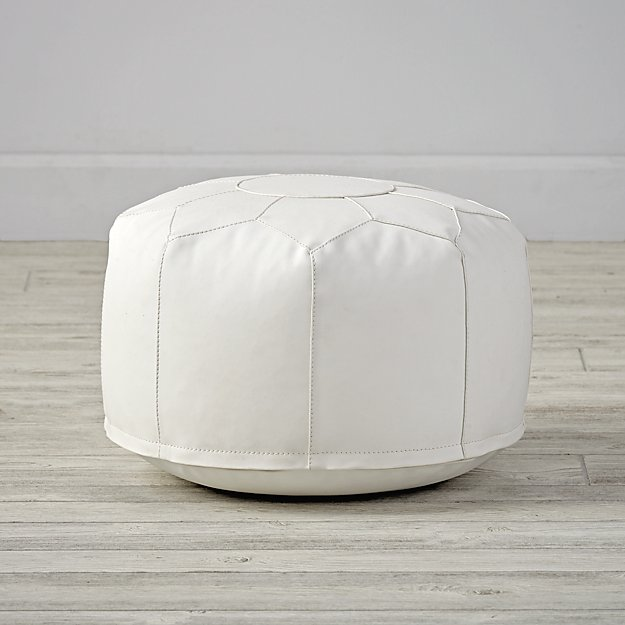 mini white faux leather pouf reviews crate and barrel