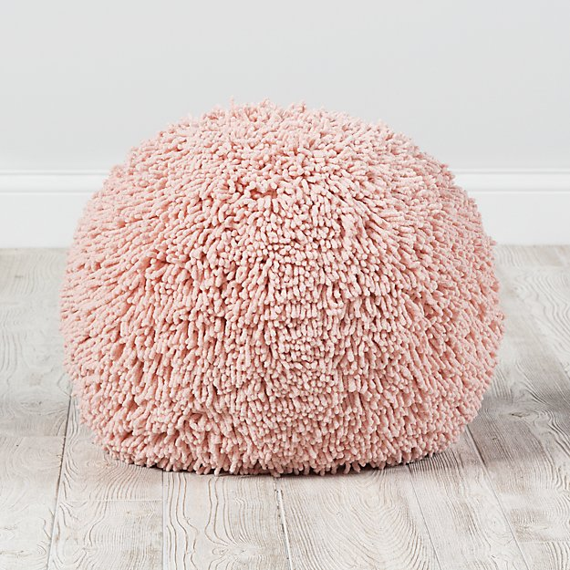 Pink Shaggy Pouf Reviews Crate And Barrel