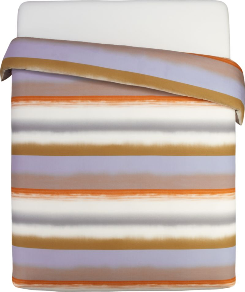 """Painterly bands blur in designer Fujiwo Ishimoto's 2003 dramatic tonal stripe, Poukama (""""cove""""). Capturing an artful tension between simplicity and excitement, this study is representative of Ishimoto's focus on graduated shadings and the artful transition of colors one to the next. Reversible duvet cover has a hidden button closure at the bottom and interior fabric ties to hold the insert in place. Duvet inserts also available.<br /><br /><NEWTAG/><ul><li>Pattern designed by Fujiwo Ishimoto; 2003</li><li>100% cotton percale</li><li>300-thread-count</li><li>Machine wash cold</li><li>Made in Pakistan</li></ul>"""