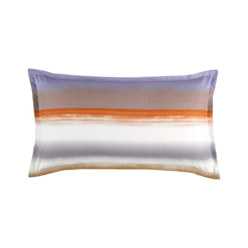 "Painterly bands blur in designer Fujiwo Ishimoto's 2003 dramatic tonal stripe, Poukama (""cove""). Capturing an artful tension between simplicity and excitement, this study is representative of Ishimoto's focus on graduated shadings and the artful transition of colors one to the next. Pillow sham has a 1"" flange and generous back flap closure. Bed pillows also available.<br /><br /><NEWTAG/><ul><li>Pattern designed by Fujiwo Ishimoto; 2003</li><li>100% cotton percale</li><li>300-thread-count</li><li>Pattern placement on shams may vary from sample shown</li><li>Machine wash cold</li><li>Made in Pakistan</li></ul>"