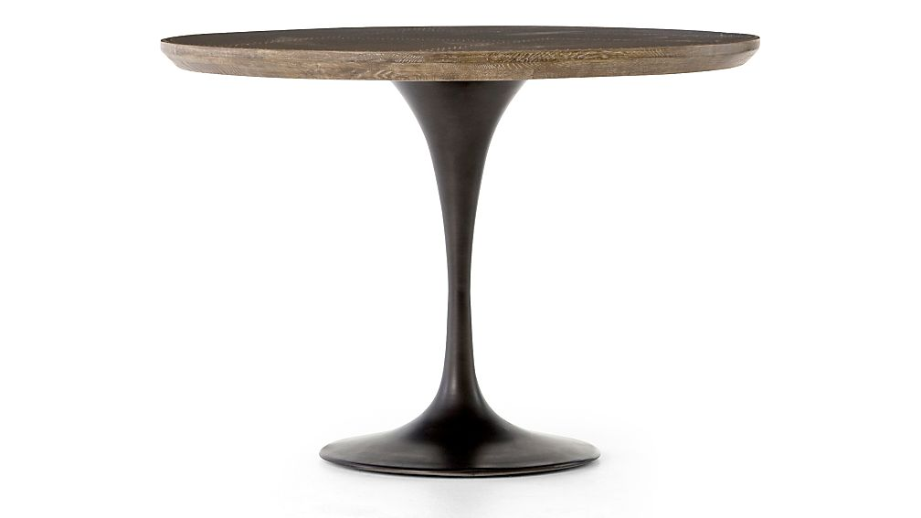 "Penn Patchwork Bronze 42"" Pedestal Base Dining Table - Image 1 of 8"