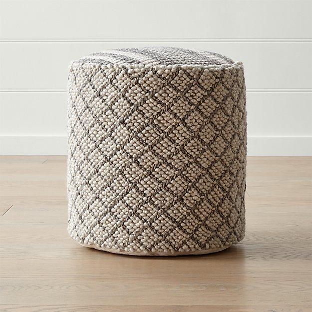 prado 20 round pouf reviews crate and barrel. Black Bedroom Furniture Sets. Home Design Ideas