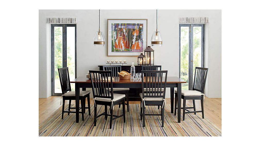 Village Bruno Black Wood Dining Chair And Natural Cushion | Crate And Barrel