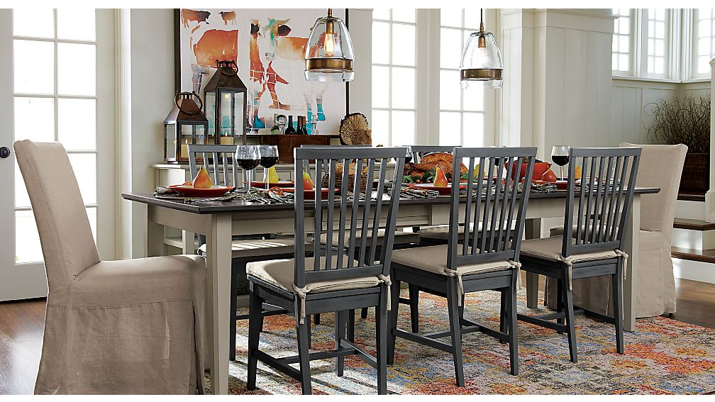 slip linen slipcovered dining chair | crate and barrel