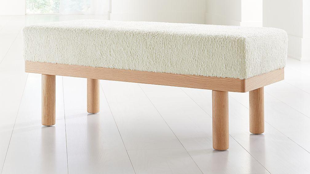 Prescott Oak Upholstered Bench - Image 1 of 8