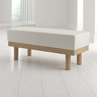 Prescott Oak Upholstered Bench