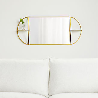 Prescott Oval Mirror with Shelves