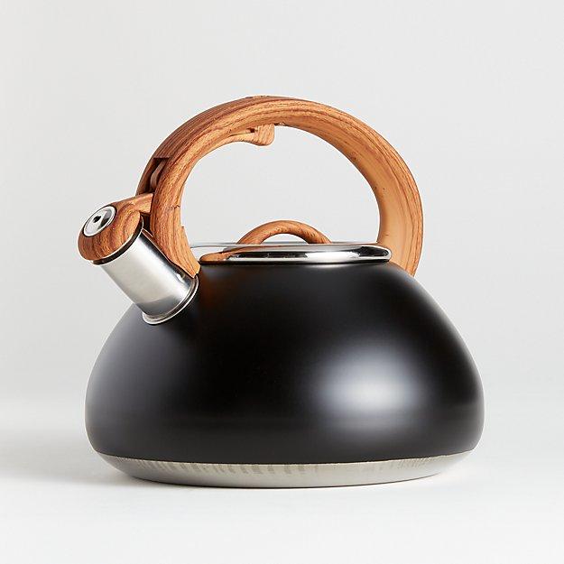 Primula Matte Black Tea Kettle With Wood Look Handle