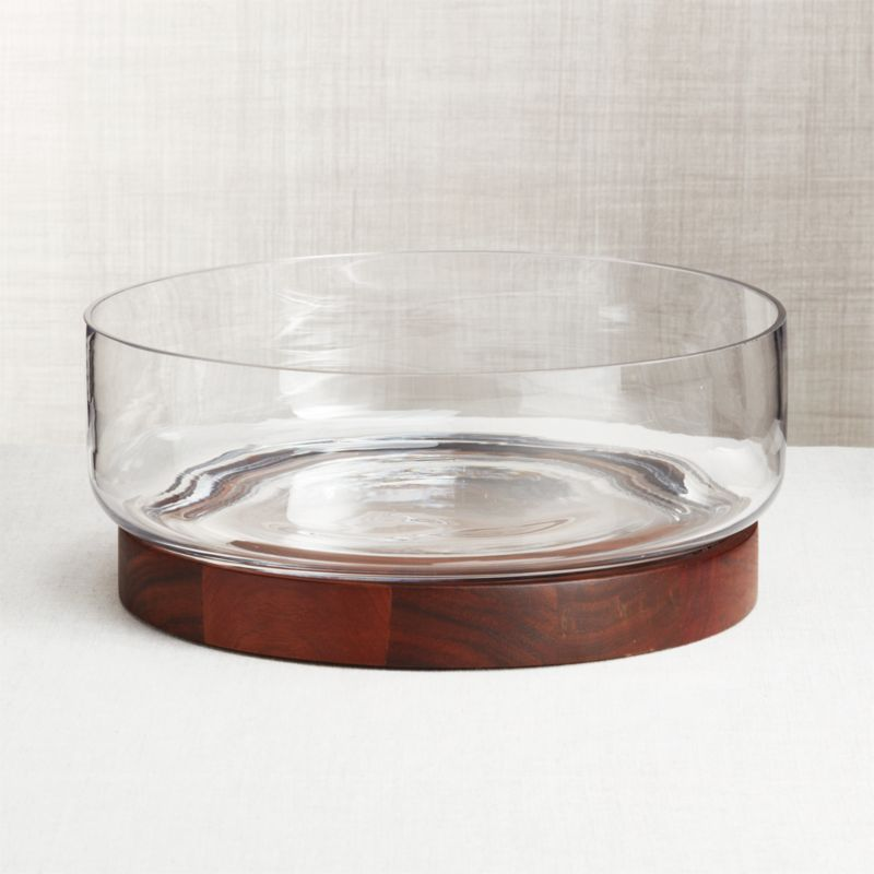Prospect Wood Base Glass Serving Bowl Reviews Crate And Barrel