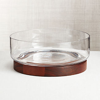 Prospect Wood Base Glass Serving Bowl