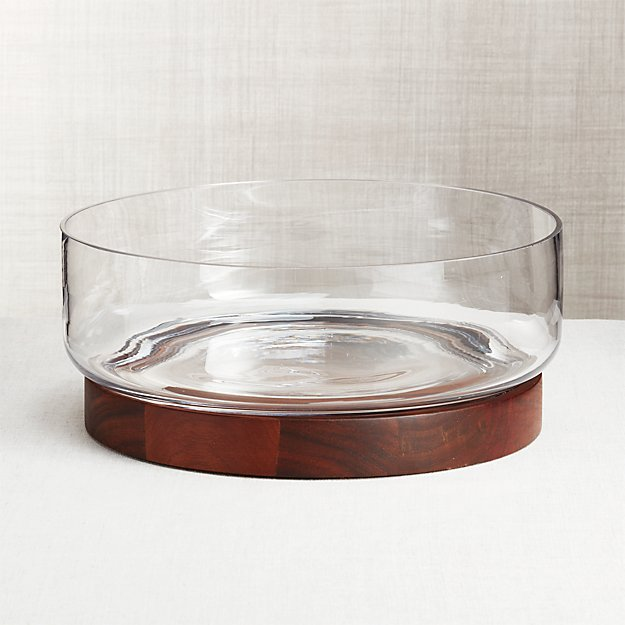 Prospect Wood Base Glass Serving Bowl - Image 1 of 6