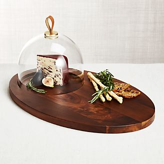 Prospect Serving Board With Glass Dome