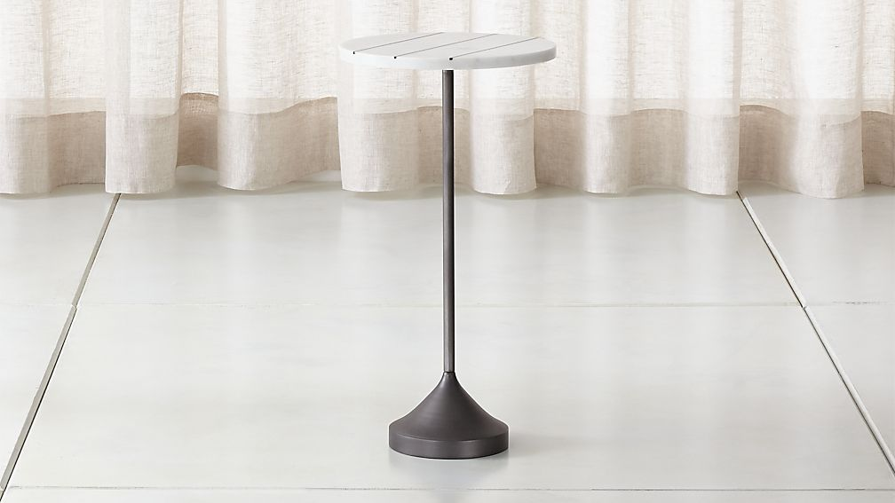 Prost Tall Brass and Marble Drink Table - Image 1 of 12