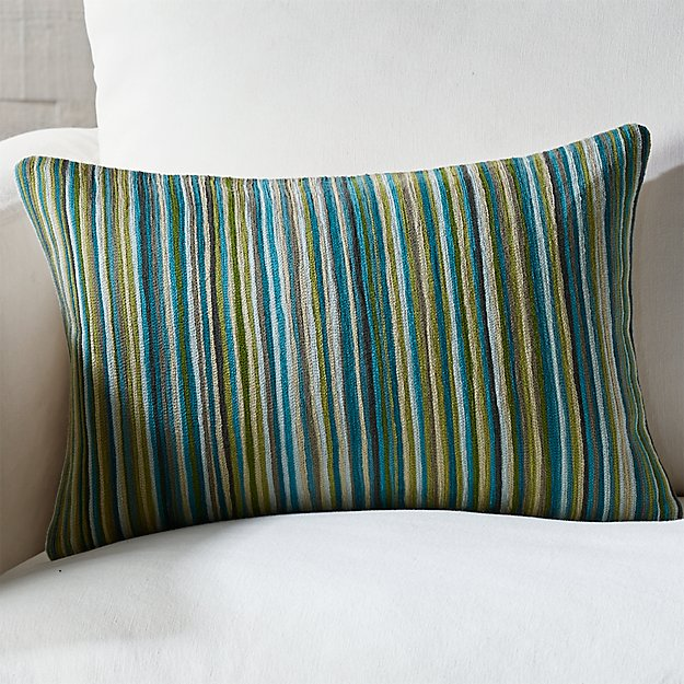 Pruitt 18x12 Blue Stripe Pillow With Down Alternative Insert Crate And Barrel
