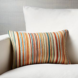 "Pruitt Striped 18""x12"" Pillow with Feather-Down Insert"