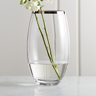 "Pryce 11.5"" Silver Rim Vase/Hurricane"