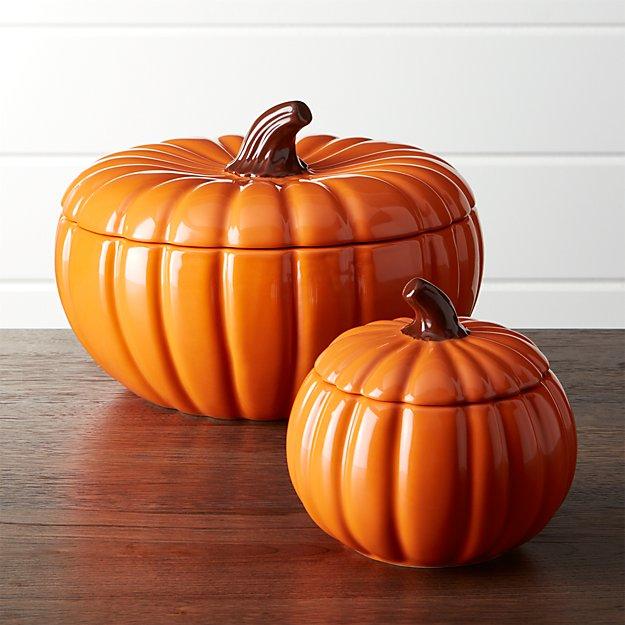 Pumpkin Serving Bowls with Lids