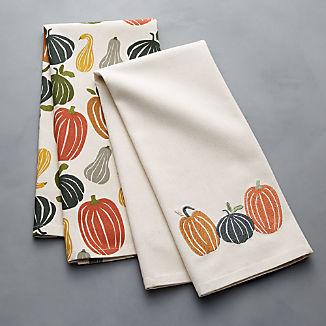 Pumpkin Squash Dish Towels, Set of 2