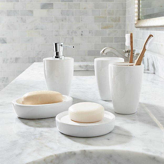 Bathroom Accessories Pics pure white bathroom accessories | crate and barrel